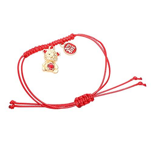 Generic Pulsera del Zodiaco Chino Signo del Zodiaco Tigre Encanto Pulsera Roja Tejida Pulsera Hecha a Mano de La Suerte Cadena Roja del Tobillo para El Año Nuevo Lunar Hombres Mujeres