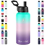 Umite Chef Sports Water Bottle with New Wide Handle Straw Lid, Vacuum Insulated Stainless Steel Thermo Mug, 32 oz Double Walled Wide Mouth Water Bottle ,Leak Proof, Sweat Free (Hydrangea)