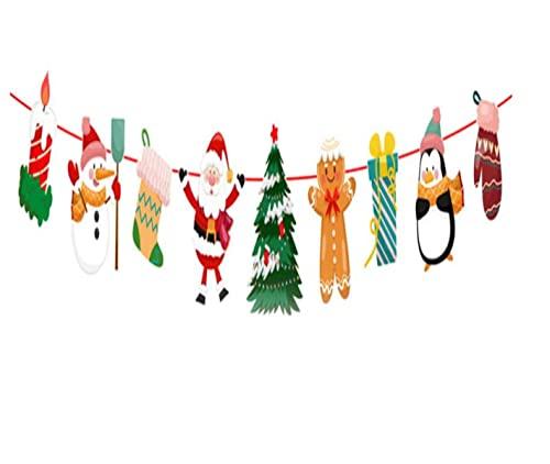 AONAT Navidad Banners,Guirnaldas Navidad Banner de Papel Bunting,Decoraciones para árboles de Navidad Empavesado Colgante Decoración de Fiesta