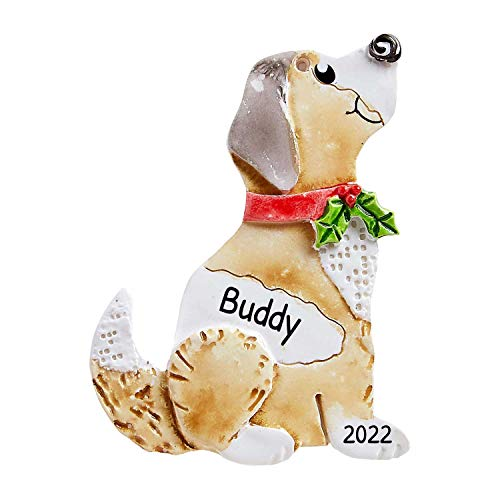Personalized Dog Christmas Tree Ornament 2020 - Handmade Watercolor Designer Fun Brown Beige Play Holiday Love Kid Hat Good Neutral Faithful Friend Lab Forever Furever Paw Fluffy - Free Customization