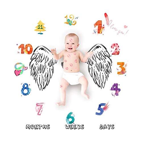 NROCF Angel Wings Baby Milestone Blanket, Couverture De Modèle De Dessin Animé, Figures De Décembre Colorées, Accessoires De Photographie pour Enfants