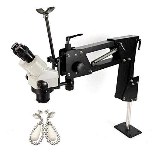 Jewelry Micro Inlaid Mirror Microscope Stand Multi-Directional Continuous Zoom 7X-45X for Jewelry Maker