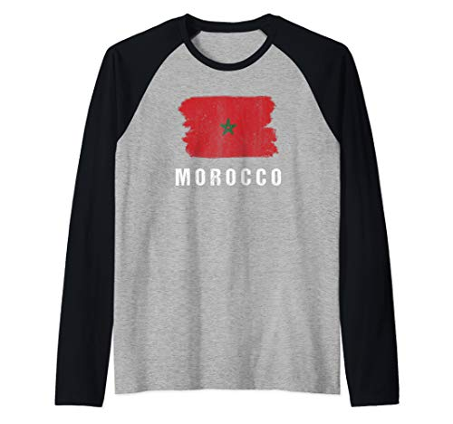 Gemalte Marokko Fahne / Marokkanische Flagge Fan Geschenk Raglan