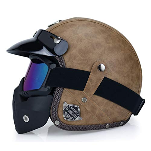 Cascos de moto de cara abierta para hombres Casco de moto de...
