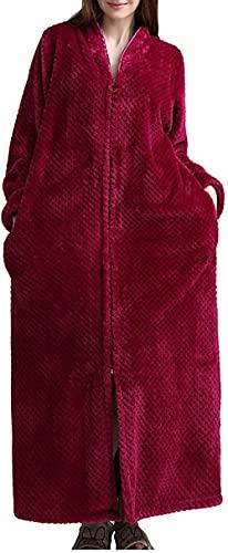 Pijamas para mujer camisón de franela espesar batas otoño invierno cremallera bata de baño traje de encaje, rosso, L