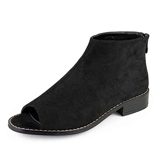 YDN Women Comfort Block Low Heels Ankle Bootie Peep Toe Pumps Versatile Suede Flats Shoes with Back Zipper Size 15 Black