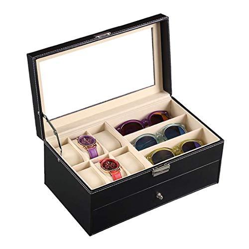 DLYDSSZZ Caja de Almacenamiento Caja de Reloj de Doble gaveta Gafas Colección Caja de Reloj exhibición de la joyería con Cristal Transparente de la Cubierta Superior del Regalo Cajas de Reloj