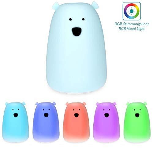 Navaris LED Nachtlicht Bär Design - Micro USB Kabel - Süße RGB Farbwechsel Nachttischlampe für Kinder - Bärchen Kinderzimmer Schlummerlicht Blau