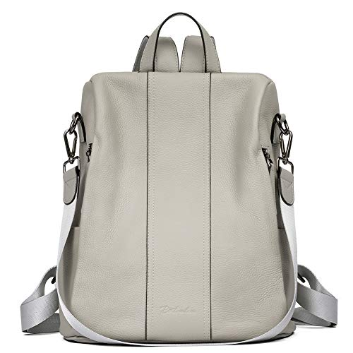 BOSTANTEN Leather Backpack Purse for Women Anti-Theft Casual College Bags Fashion Travel Backpack Shoulder Handbags - Grey - Medium