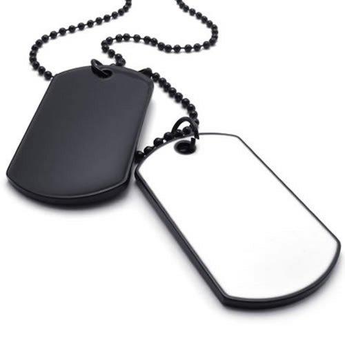 KONOV gioielleria Collana con ciondolo a forma di uomo, Dog Tag, Piastra nome militare catena, 68 cm, lega, colore: nero, con confezione regalo