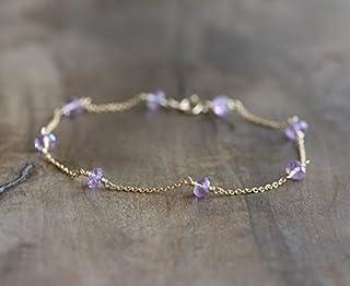 Pulsera de amatista - delicada pulsera - pulsera púrpura en relleno de oro - Piedra natal de febrero - joyería de amatista...