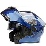 システムヘルメット フリップアップ バイク ヘルメット メンズ 絵 ヘルメット ダブルシールド くもり止め ヘルメット uvカット 通気 吸汗 日焼け止め オールシーズン 内装 洗濯可 おおきいサイズ おしゃれ ヘルメット ブルー L 頭囲 59-60cm