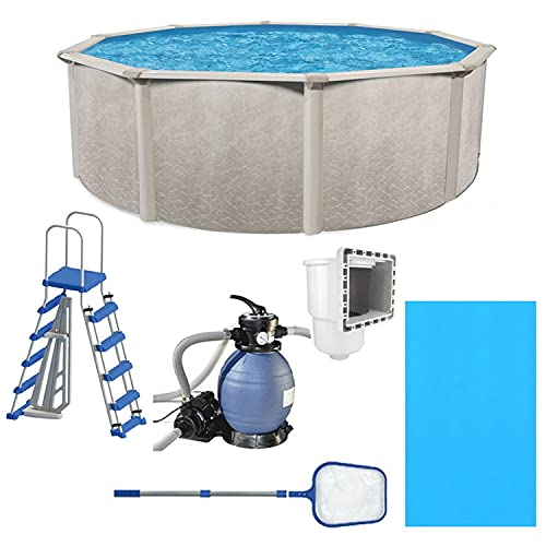 Aquarian Phoenix 15ft x 52in Above Ground Swimming Pool, Pump and Ladder Set with Sand Filter Pump, Pool Liner, Skimmer, Ladder and Net