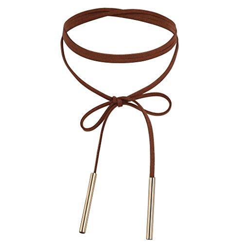 Daesar Joyería Gargantilla Terciopelo para Mujer Velvet Larga Cuerda de Lazo Collar Cadena Oro Marrón Oscuro Chokers Collar Cadena 136cm