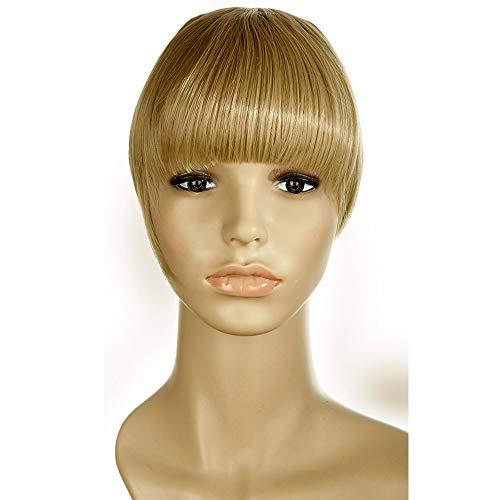 Clip in Extensions Pony Haarteil Mittelblond natürliche Haarverlängerung glatt Kunsthaar für Frauen 2 Clips 30g
