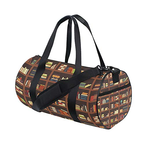 Gym Bag Old Library Bookshelf Best Duffle Weekender Bag for Women Men Travel Overnight