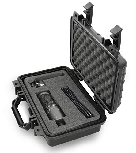 Casematix 12 Inch Microphone Case Compatible with Rode Procaster, Akg, Mxl, M Audio, Nady, Samson, Behringer, Shure and More Podcast Broadcast Vocal Mics