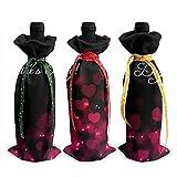 Bolsas para botellas de vino de 3 piezas, bolsa de asas navideña para el día de San Valentín feliz para bodas, regalos de fiesta, Navidad, vacaciones y suministros para fiestas de vino