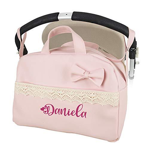 Bolso polipiel carrito bebe. Color rosa. Personalizado con nombre bordado- Danielstore (rosa)
