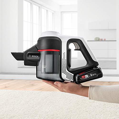 Bosch Unlimited Serie 6 - Scopa Elettrica Ricaricabile, Aspirapolvere Multifunzione senza Fili e senza Sacco, 18 V, Bianco