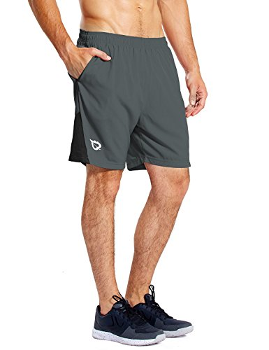 BALEAF Men's 7'' Athletic Running Shorts Quick Dry Mesh Liner Zip Pocket Gray Size M