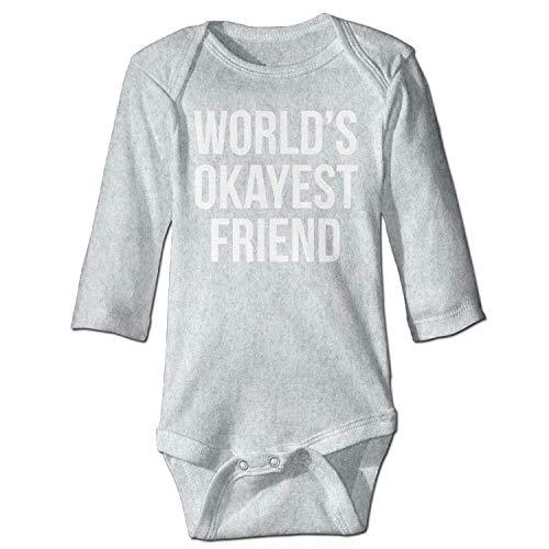 Unisex Infant Bodysuits World's Okayest Friend Girls Babysuit Long Sleeve Jumpsuit Sunsuit Outfit Ash