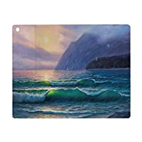 iPad 8 ケース 2020 iPad 10.2 ケース 第7世代 2019 自然、朝の海の波山の上の太陽の空霧の地平線シュールな風景、ライラックティール 軽量 傷防止 オートスリープ ウェイク スマートケース iPad 10.2インチ ハードカバー