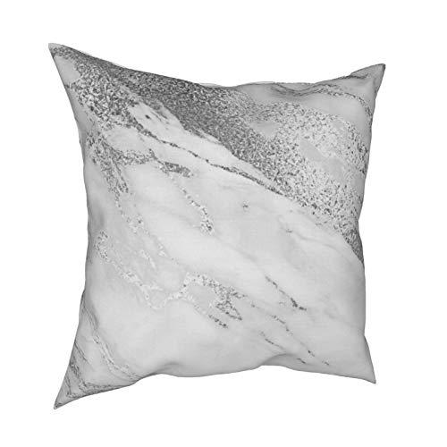 Fundas de almohada de mármol monocromático blanco gris plata 45.7 x 45.7 cm – impresión de doble cara, fundas de almohada decorativas cuadradas para sofá, cama, coche