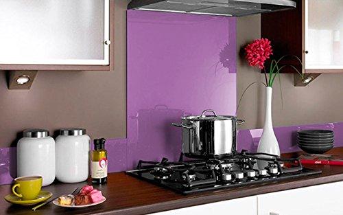 Vidriopanel Copete DE Vidrio Color para frentes de cocinas en Diferentes Medidas/Zócalo de Encimera antisalpicaduras en Cristal (80cm x 14cm, Morado)