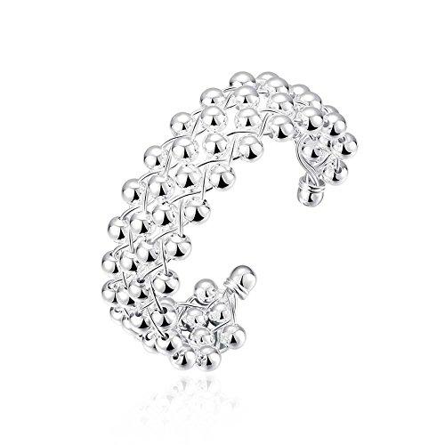 J.Fée NYKKOLA Armreif mit 925 Sterlingsilber, vergoldete Perlen, geflochtenes Netz