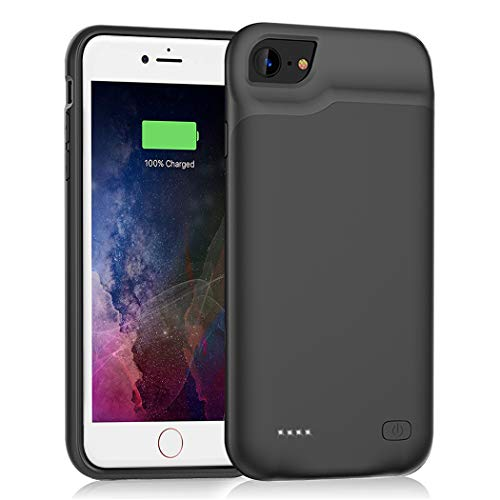 Battery Case for iPhone 6/6s/7/8 /SE 2020 , Upgraded 6000mAh Slim Rechargeable Power Charging Case for iPhone 6/6s/7/8 /SE 2020 (2nd Generation) Extended Battery Pack Protective Charger Case (Black)