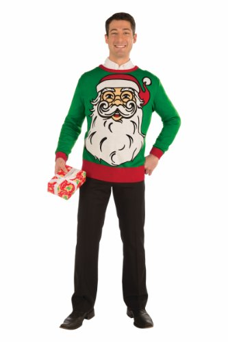 Forum Novelties Santa Print Christmas Sweater Red