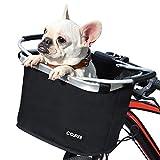 COFIT Canasta de Bicicleta Plegable, Canasta de Manillar de Bicicleta Multiusos Extraíble para Porta Mascotas, Bolsa de Compras, Bolsa de Viaje, Camping al Aire Libre Básico Negro