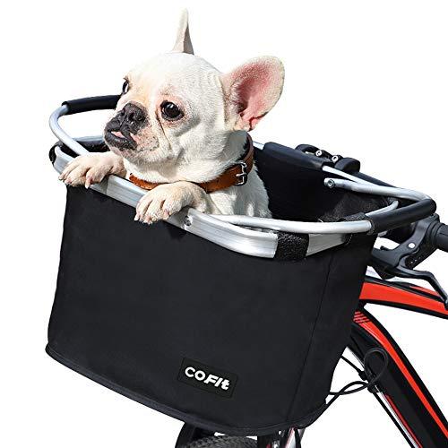 COFIT Faltbarer Fahrradkorb, Abnehmbarer Mehrzweck-Fahrradkorb für Haustiere, Shopping, Pendler, Camping und Outdoor Grundtyp Schwarz