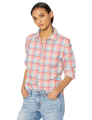 Amazon Essentials Damen Langarm-Bluse, klassische Passform, Popelin, Warm Multi Gingham, M