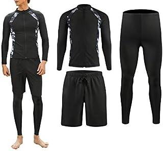 ラッシュガード メンズ 長袖 水着 サーフパンツ オシャレ レギンス フィットネス 豪華二点・三点セット[UVカット UPF50+・吸汗速乾]