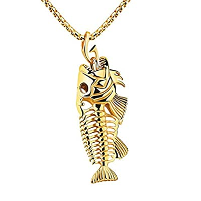 Men Women Fish Bone Fishing Hook Skeleton Pendant Necklace Mingfa Stainless Steel Long Sweater Chain Charm Statement Jewelry from Mingfa.y