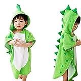 MINISTAR Kinder Badetuch Bademantel Kinder Kapuze Strand Schwimmponcho Dinosaurier für Babys Mädchen und Jungen grün