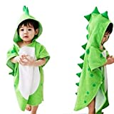 MINISTAR - Toalla de baño infantil con capucha, diseño de dinosaurio, color verde