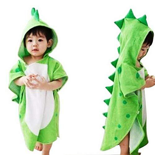 Toalla de bebé con capucha para niños, diseño de dinosaurios, extra suave, 115 x 55 cm