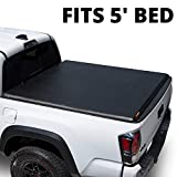 LEER ROLLITUP   Fits 2016+ToyotaTacomawith 5' Bed withTrack   Soft Roll Up Truck Bed Tonneau Cover   4R286   Low-Profile, Sturdy, Easy 15-Minute Install - Fits Trail Edition (Black)