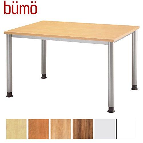 bümö® Schreibtisch höhenverstellbar | Bürotisch in 6 Farben & 8 Größen verfügbar | Büroschreibtisch (Buche, Rechteck: 120x80 cm)