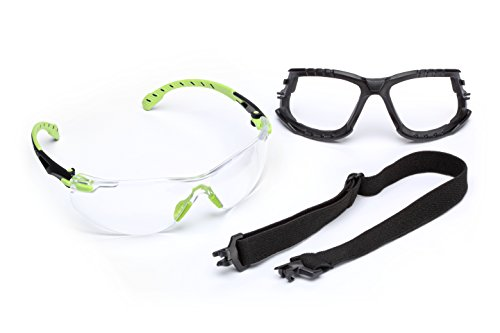 3M Safety Glasses, Solus 1000 Series, ANSI Z87, Scotchgard Anti-Fog, Clear Lens, Green/Black Frame, Removable Foam Gasket and Strap