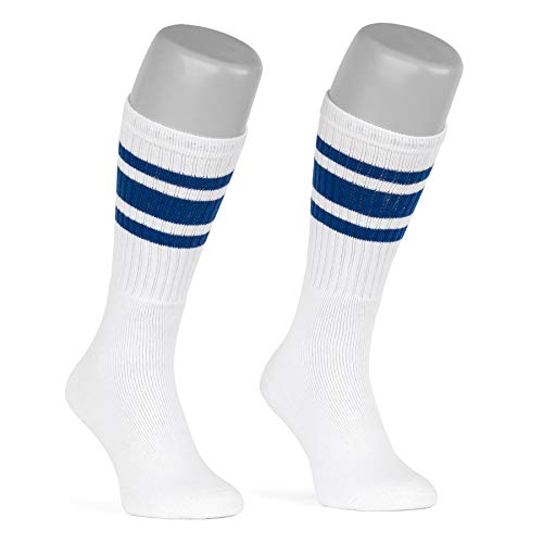 skatersocks 19 Inch gestreifte Damen Socken Kniestrümpfe wadenhohe Herren Retro Tube Socks weiss - royal blau gestreift - UNISEX - OSFA