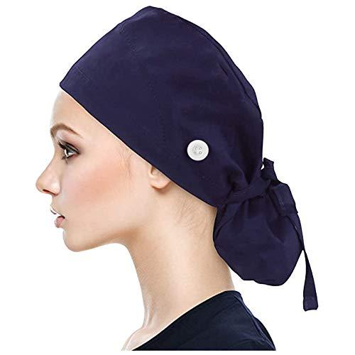 Muium(TM) Kappen mit Knopf und Baumwolle Einfarbige Schweißband Schrubben Hut für Unisex OP Haube Chirurgische Hut Verstellbar Kochmütze Kopfhauben Peeling Kappe