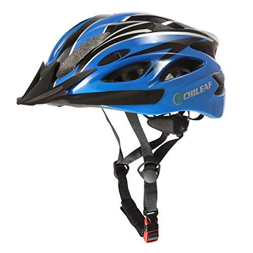 CHILEAF Casco da Bicicletta Sicurezza Sport della Bici con Visiera - Integrated Mountain Bike Bicycle Riding Helmet - 18 Vents Doppio in-Mould per Casco Bici Adulto 56-62 cm (Blu-nero)