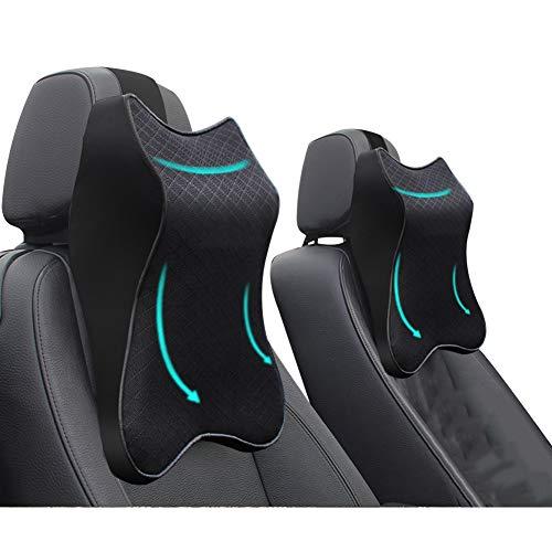 2 PCS Car Seat Headrest Neck Rest Cushion,Durable 3D Memory Foam, Comfortable Car Seat Headrest, Ergonomic Design, Breathable Removable Cover, for Neck/Back Pain Relief (2pcs Black)