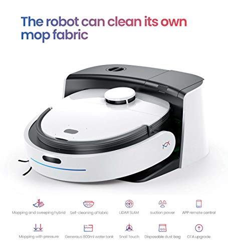 N1 Max Fully Automatic Vacuum Robot Cleaner Household Sweeping and Mopping Robot, self Cleaning of Mop Fabric, Real Mopping with Pressure, 2000Pa Strong Suction, auto Re-Charge (N1 Max)