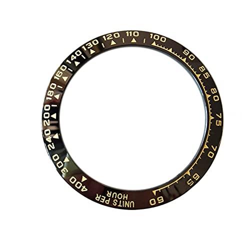 MINGYUYUYY Bisel de Reloj de cerámica Apto para cosmógrafo Daytona 38. 5MM Hombre Reloj Cara Interior Diámetro 30. 5MM Ver Accesorios de reemplazo (Color : Black)