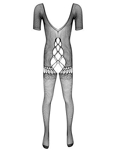 iixpin Herren Jumpsuit Ouvert-Body Transparent Overall Fischernetz Strumpfhosen Dessous Einteiler Ganzkörper Anzug Schlafanzug Clubwear Schwarz B One Size